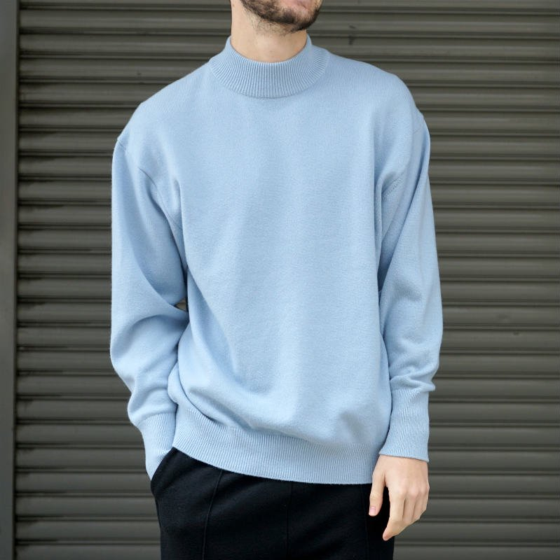 <img class='new_mark_img1' src='https://img.shop-pro.jp/img/new/icons8.gif' style='border:none;display:inline;margin:0px;padding:0px;width:auto;' />[HERILL] ヘリル CASHMERE MOCKNECK (SAX)