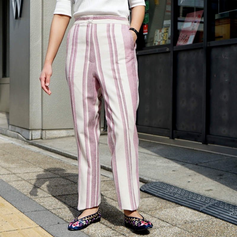 <img class='new_mark_img1' src='https://img.shop-pro.jp/img/new/icons6.gif' style='border:none;display:inline;margin:0px;padding:0px;width:auto;' />[WRYHT] ライト PIPING TROUSER(ROSE STRIPE)