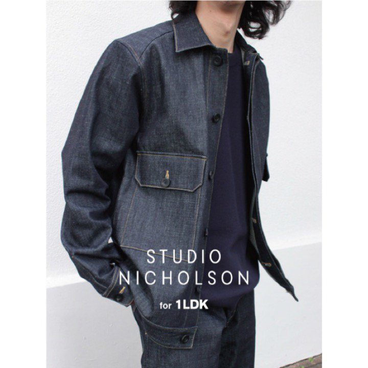 <img class='new_mark_img1' src='https://img.shop-pro.jp/img/new/icons8.gif' style='border:none;display:inline;margin:0px;padding:0px;width:auto;' /> [STUDIO NICHOLSON] スタジオニコルソン【1LDK別注】CARBON MENS DENIM JKT EXCLUSIVE (INDIGO) SNM-105