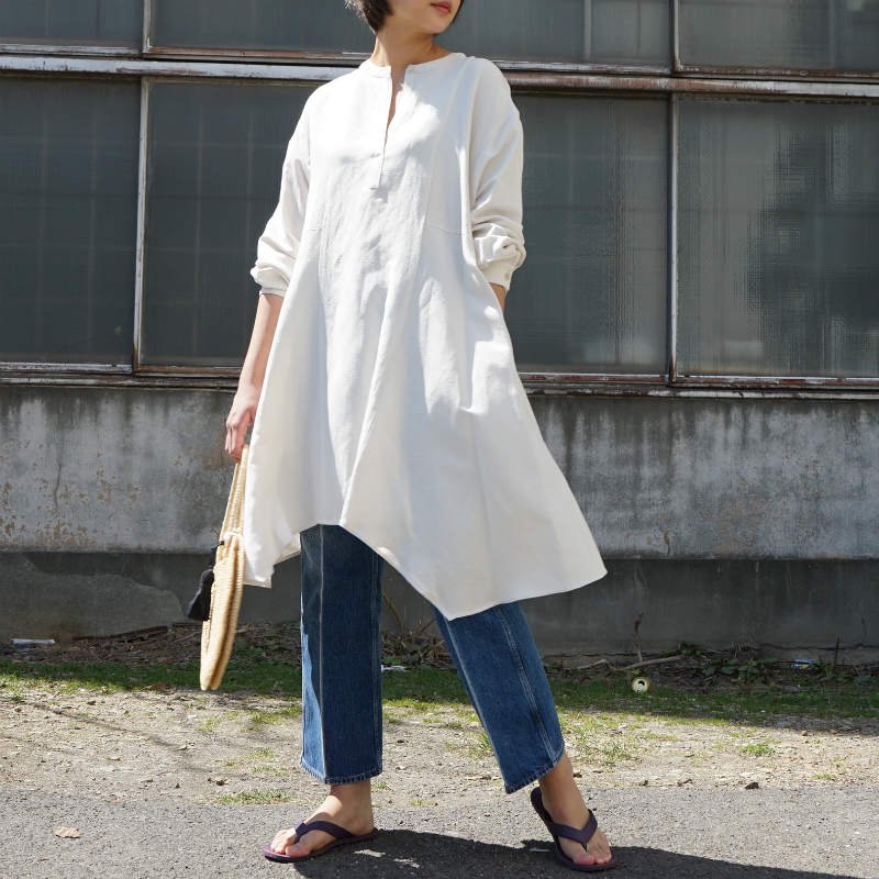 <img class='new_mark_img1' src='https://img.shop-pro.jp/img/new/icons50.gif' style='border:none;display:inline;margin:0px;padding:0px;width:auto;' />[CLANE] クラネ ASYMMETRY TUNIC TOPS(IVORY)