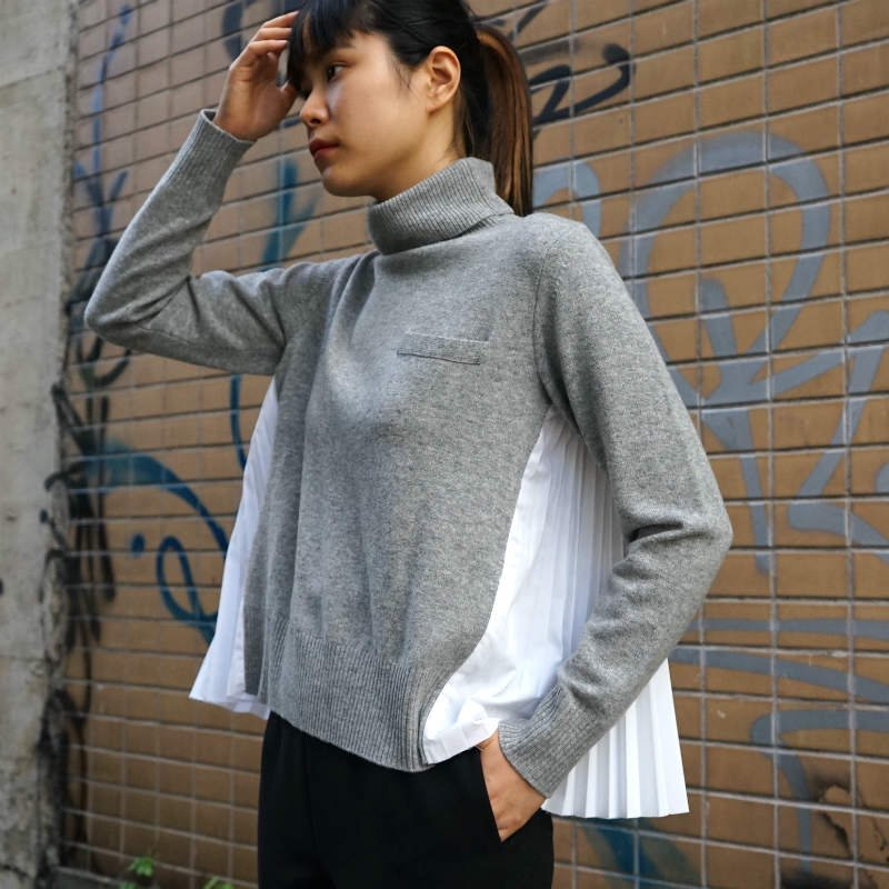 <img class='new_mark_img1' src='https://img.shop-pro.jp/img/new/icons6.gif' style='border:none;display:inline;margin:0px;padding:0px;width:auto;' />[sacai] サカイ SCW-046 Wool Knit Pullover(L/GRAY×O/WHITE)