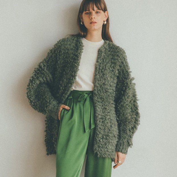 <img class='new_mark_img1' src='https://img.shop-pro.jp/img/new/icons50.gif' style='border:none;display:inline;margin:0px;padding:0px;width:auto;' />[CLANE] クラネ MOHAIR LOOP BULKY KNIT CARDIGAN(MOSS GREEN)