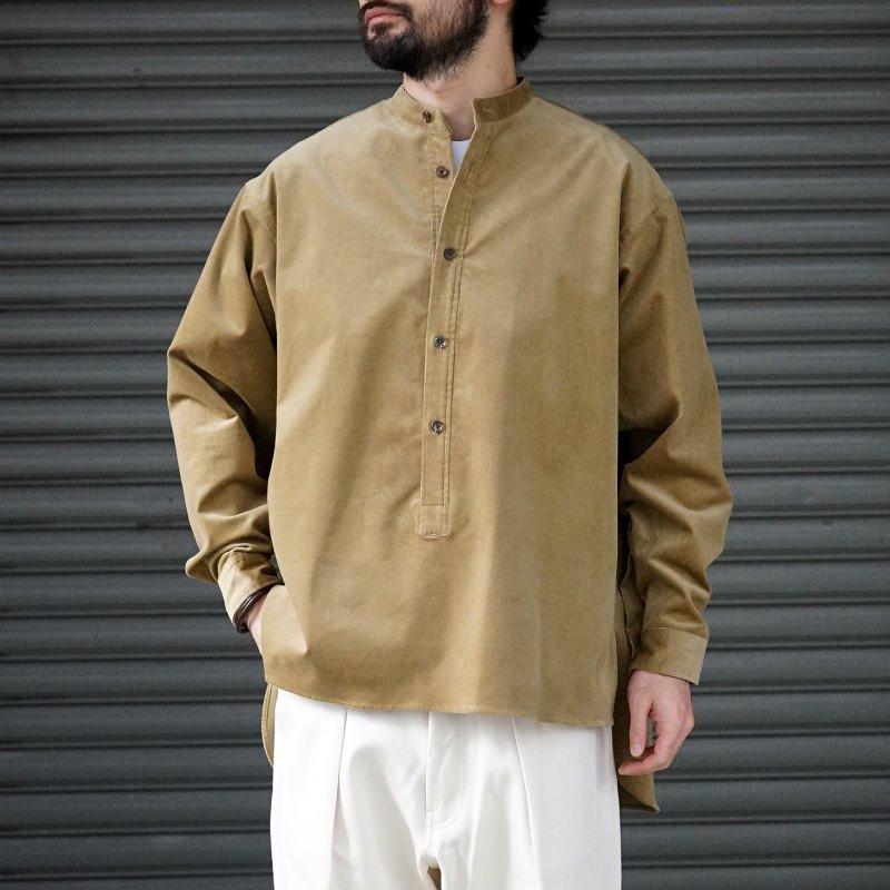 <img class='new_mark_img1' src='https://img.shop-pro.jp/img/new/icons8.gif' style='border:none;display:inline;margin:0px;padding:0px;width:auto;' />[RAKINES] ラキネス Organic ST corduroy - Stand collar shirt (CAMEL)
