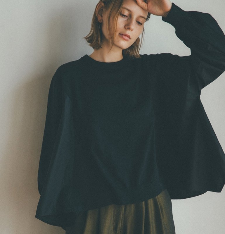 <img class='new_mark_img1' src='https://img.shop-pro.jp/img/new/icons6.gif' style='border:none;display:inline;margin:0px;padding:0px;width:auto;' />[CLANE] クラネ PANEL FLARE KNIT TOPS(BLACK)