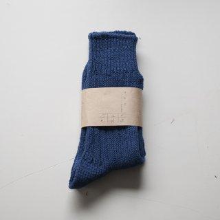 Peli-tan 綿の太リブ靴下 インディゴ
