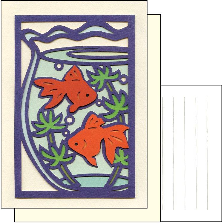 切り絵カード 夏柄・ブランク 金魚鉢...