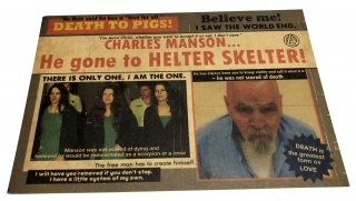 tribute to CHARLES MANSON / POSTCARD & 25mmPIN set