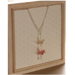 本美濃紙のネックレス「カミノシゴト」 Crane triangles pink  (鶴)