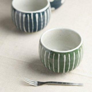 美濃焼  和風デザートカップ  (みどり 十草)