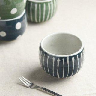 美濃焼  和風デザートカップ  (あい色 十草 )