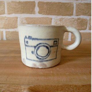 sunny-craft サニークラフト カップ 白マット釉 絵付け「カメラマーク」