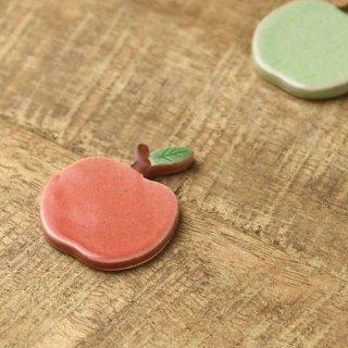 美濃焼 土作りの箸置き りんご 赤リンゴ