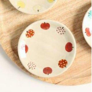 加藤麻里 【益子焼】 豆皿《リンゴ柄》(レッド)
