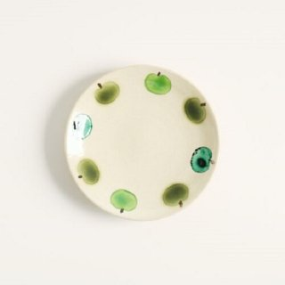 加藤麻里 【益子焼】 小皿《リンゴ柄》(グリーン)