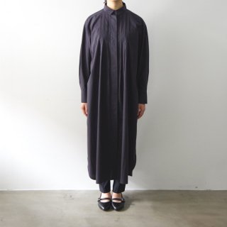 hiyoku long shirt one-pice  - navy -