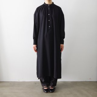 stand collar shirt one-piece  - black -