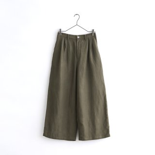 linen wide pants -gray-