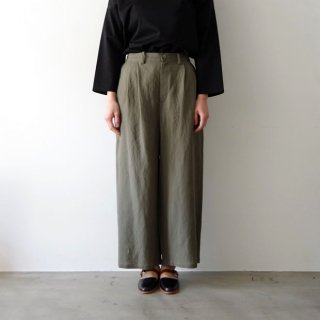 linen wide pants -khaki-