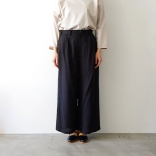 linen wide pants -black-