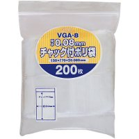 ジャパックス VGA-8 チャック付ポリ袋 厚口 透明0.08