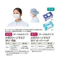 【新規受注停止中】メガクリーンマスク 3PLY 耳掛 ホワイト/ブルー/ピンク/オーバーヘッド 50枚入り×60箱【3,000枚】