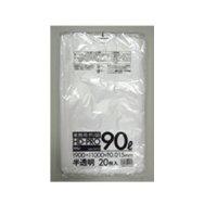 GK93 ポリ袋 90L 半透明 0.015 HHJ 20枚入り×40冊【800枚】