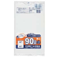 TSN95 容量表示入ポリ袋90L厚口 白半透明0.03 HD+meta ジャパックス
