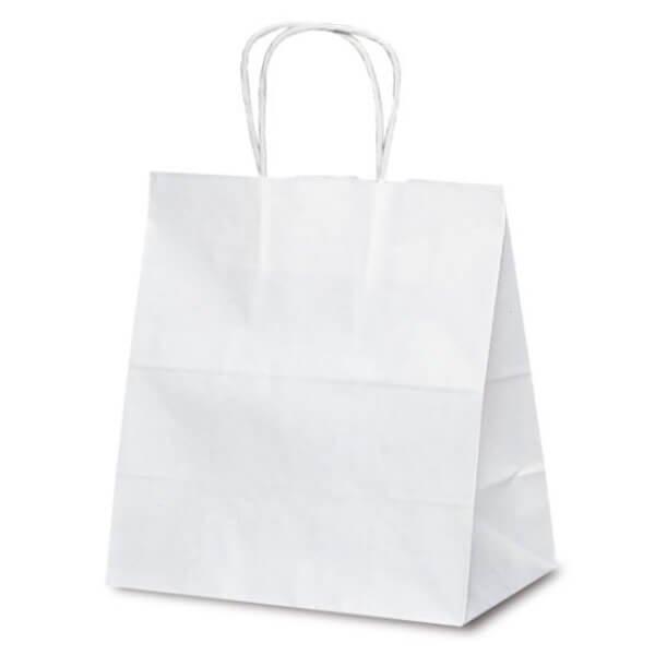 No.1624 T-5W 自動紐手提袋 白無地が安い! 業務用品の大量購入なら激安通販びひん.shop。【法人なら掛け払い可能】【最短翌日お届け】【大口発注値引き致します】