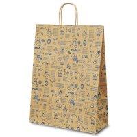 No.1451 T-12 自動紐手提袋 ベアコレクション(ブルー) 【200枚入り】