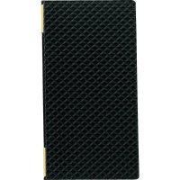 【3冊よりお届け可能】合皮キルトピンホール メニュー LB-824(タテ大) 黒/赤