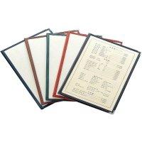 【最小購入数8冊】合皮クリアテーピングメニュー 4ページ B4/A4/B5/A5 黒/エンジ/茶/緑/紺