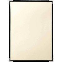【最小購入数3冊】コットンクリアテーピングメニュー 三ツ折6ページ A4 ブラック/レッド/ライトグリーン/ライトブラウン/オレンジ