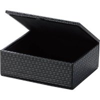 【最小購入数5個】レザータッチブラックシリーズ ふた付アメニティボックス AT-308