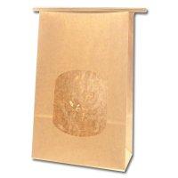 【ケース販売】 紙袋 窓付袋 ワイヤー付 15.5-7 未晒無地 10枚×80束 【800枚入り】