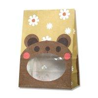 【バラ販売】紙袋 窓付袋 パックンバッグ S1F クマ 【50枚入り】