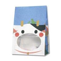 【バラ販売】紙袋 窓付袋 パックンバッグ S1F ウシ 【50枚入り】