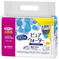 シルコットウェットティッシュ ピュアウォーター 純水99% つめかえ用 8個パック 480枚入(60枚×8個)