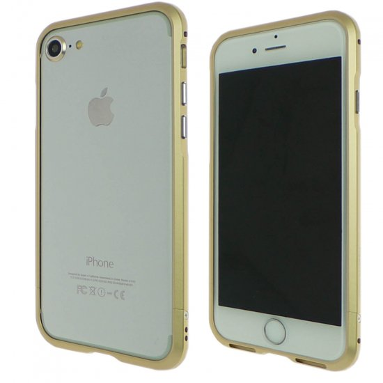 iphone7アルミバンパーケース ゴールドの前面と背面