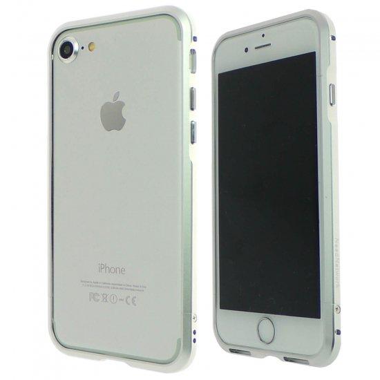 iphone7アルミバンパーケース シルバーの前面と背面