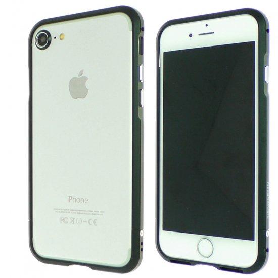 iphone7アルミバンパーケース ブラックの前面と背面