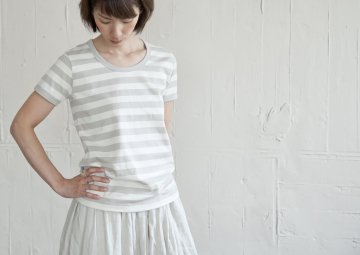 ballerina pink 30/2 jersey  ボーダー・半袖【ivory×light gray】