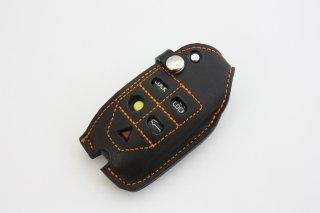 ERST(エアスト) ボルボ専用 栃木レザー キーカバー B-タイプ カラー:ブラックxオレンジ LKC-V70-B-BKOR