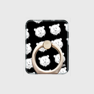 MR.HUGE COOL BEAR LOGO PRINTED SMARTPHONE RING スマホリング ブラック
