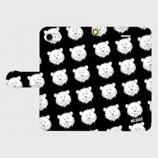 MR.HUGE COOL BEAR PRINTED 手帳型 iPhoneCASE ブラック