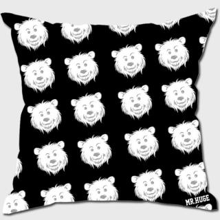 MR.HUGE COOL BEAR LOGO PRINTED CUSHION(クール ベア ロゴ プリント クッション)ブラック