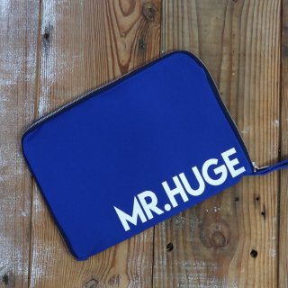 MR.HUGE LOGO CANVAS ZIP HANDLE CLUTCH BAG(ロゴ キャンバス ジップ ハンドル クラッチ バッグ)ブルー