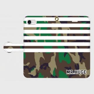 MR.HUGE BORDER ARMY 手帳型 iPhoneCASE ブラック