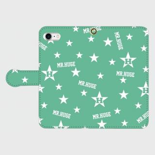 MR.HUGE  RANDOM STAR & LOGO 手帳型 Android PhoneCASE ブラック