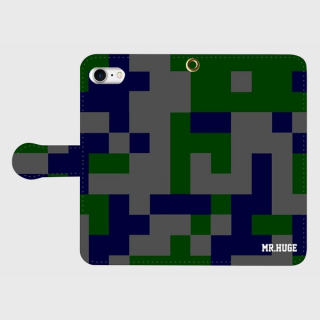 MR.HUGE  DEGITAL CAMOFLAGE(デジタル 迷彩) PRINTED  手帳型 Android PhoneCASE ブラック