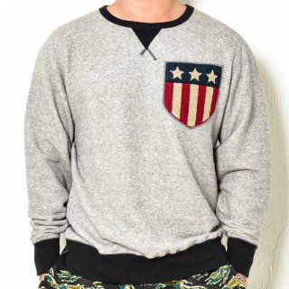 MR.HUGE CUSTOMIZE WAPPEN COLOR COMBINATION SWEAT  (カスタムワッペン カラー コンビ スエット)グレー